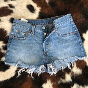 Levis high rise denim shorts